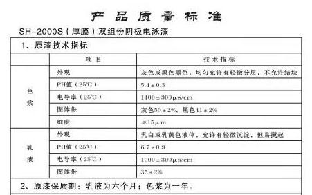 云南SH-2000S(厚膜)双组份阴极电泳漆